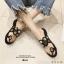 รองเท้าแตะแฟชั่นสีดำ ฉลุลาย อะไหล่กลม LB-N811-BLK thumbnail 5
