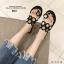 รองเท้าแตะแฟชั่นสีดำ ฉลุลาย อะไหล่กลม LB-N811-BLK thumbnail 4