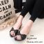 รองเท้าสวมส้นเหลี่ยมโบว์ E642-ดำ (สีดำ) thumbnail 2