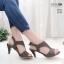 รองเท้าส้นสูงสไตล์สีเทา ZARA ฉลุลายกราฟฟิก รัดข้อตะขอ LB-1333-เทา thumbnail 2