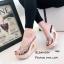 รองเท้าแตะส้นสูงแบบสวม พื้นลาย T480-ดำ (สีดำ) thumbnail 3
