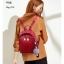 กระเป๋าเป้ผู้หญิงหนัง pu เย็บลายข้ามหลามตัดด้านหน้า BAG-074-แดง (สีแดง) thumbnail 4
