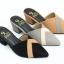 พร้อมส่ง รองเท้าส้นตัน เปิดหลังแบบสวม ทรงหน้าเหลี่ยม NF85-76-BLK [สีดำ] thumbnail 2