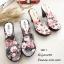 รองเท้าส้นสูงหน้าใสสีเทา พื้นลายดอก 7801-7-เทา thumbnail 2