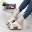 รองเท้าส้นเตารีดสีครีม หนัง pu LB-961-57-ครีม thumbnail 1