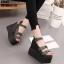 รองเท้าแบบสวมรัดข้อเปิดท้ายส้นตึกสีดำ LB-ST813-BLK thumbnail 3