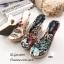 รองเท้าแตะส้นสูงแบบสวม พื้นลาย T480-ดำ (สีดำ) thumbnail 2