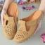 รองเท้าส้นเตี้ยสีแทน สลิปออนเปิดส้น 321-998-แทน thumbnail 3