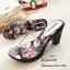 รองเท้าส้นสูงหน้าใสสีเทา พื้นลายดอก 7801-7-เทา thumbnail 1