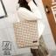 กระเป๋าแฟชั่นนำเข้าวัสดุผ้าทอลาย B9018-CRM (สีครีม) thumbnail 1