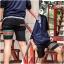 กางเกงขาสั้น พรีเมี่ยม ผ้า COTTON รหัส SST 215 ฺGC สีดำ แถบ เขียวแดง thumbnail 3