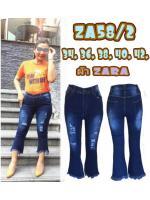 กางเกงยีนส์ขาม้าเต่อไซส์ใหญ่ ขา 8 ส่วน ขาดหน้าขา ผ้าซาร่า สีเมจิกฟอกขาว มี SIZE 34