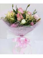 ช่อดอกกุหลาบชมพู-ลิลลี่