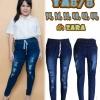 กางเกงยีนส์ไซส์ใหญ่ เอวยางยืด เชือกรูด สีเมจิกฟอกขาว ผ้ายืด ขาดหน้าขา มี SIZE 34 38 40 44