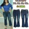 กางเกงยีนส์ไซส์ใหญ่ ขาม้าเต่อ ขาดหน้าขา ขา 8 ส่วน ปลายขารุ่ย ผ้าซาร่า สีฟอกสนิมเขียว มี SIZE 34,36,38,40