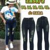 กางเกงยีนส์ไซส์ใหญ่ 8 ส่วนไซส์ใหญ่ ซิบ สีฟอกสนิมเขียว แถบข้างสีขาว ขาดหน้าเก๋ๆ ผ้า zara มี SIZE 36 38 42