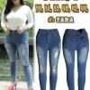 กางเกงยีนส์ไซส์ใหญ่เอวสูง ขาดฟูหน้าขาไล่ระดับ ปลายขาขาดรุ่ย สวยเซอร์ ผ้ายืดซาร่า สีฟ้าเทาฟอกขาว มี SIZE 42 44