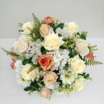 แจกันดอกไม้ประดิษฐ์ทรงกลมโทนครีม-ส้ม รหัส 4011