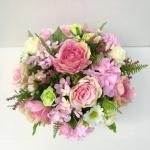 แจกันดอกไม้ประดิษฐ์ทรงกลมโทนชมพู รหัส 4010