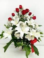 แจกันดอกไม้กุหลาบแดง-ลิลลี่ รหัส 3878