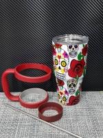 ชุดแก้วเยติ 30 ออนซ์ พื้นสีขาว ลายหัวกะโหลกและดอกกุหลาบ