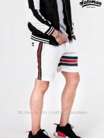 กางเกงขาสั้น พรีเมี่ยม ผ้า COTTON รหัส SST 222 TAX GC สีขาว แถบเขียว แดง