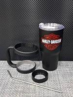 ชุดแก้วเยติ 30 ออนซ์ พื้นสีดำ โลโก้ ฮาร์เล่ย์ สีแดง
