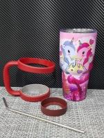 ชุดแก้วเยติ 30 ออนซ์ พื้นสีชมพู ลายการ์ตูน ม้าโพนี่คู่