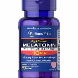 Puritan's pride Melatonin 10 mg 90 เม็ด เมลาโทนิน แบบอม รสสตอเบอรี่ ช่วยให้นอนหลับสบาย จากอเมริกาค่ะ