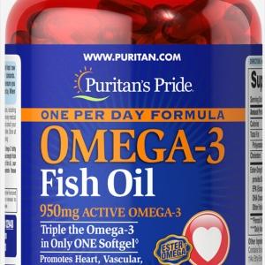 Puritan's Pride Omega-3 Fish oil สูตรเข้มข้น 1,360 mg (950 mg active Omega3) 90 เม็ด One Per Day Formula