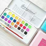 สีน้ำ GIORGIONE Master Watercolour Set 24 สี แถมพู่กัน กล่องเหล็กสีสวย สุดคุ้ม พร้อมพกพาใช้งาน