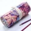 Pencil Wrap กระเป๋าม้วนใส่สีไม้ สูงสุด 72 ช่อง ผ้าเคนวาส ลายดอกสีบานเย็น