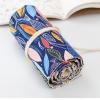 Pencil Wrap กระเป๋าม้วนใส่สีไม้ สูงสุด 72 ช่อง ผ้าแคนวาส ลายใบไม้พื้นน้ำเงิน