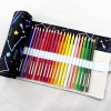 Pencil Wrap กระเป๋าม้วนใส่สีไม้ สูงสุด 72 ช่อง ผ้าแคนวาส ลายกลุ่มดาวพื้นดำ