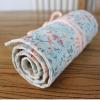 Pencil Wrap กระเป๋าม้วนใส่สีไม้ สูงสุด 72 ช่อง ผ้าแคนวาส ลายดอกไม้ฟ้าชมพู