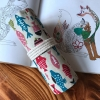 Pencil Wrap กระเป๋าม้วนใส่สีไม้ สูงสุด 72 ช่อง ผ้าแคสวาส ลายปลา