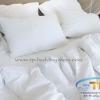 ชุดผ้าปูที่นอนโรงแรมสีขาวเรียบขนาด 5 ฟุต