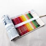 Pencil Wrap กระเป๋าม้วนใส่สีไม้ สูงสุด 72 ช่อง ผ้าแคนวาส ลายตัวหนังสือ