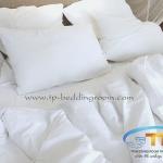 ชุดผ้าปูที่นอนโรงแรมสีขาวเรียบขนาด 3.5 ฟุต