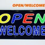 ป้ายไฟ LED open + welcome สี