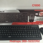 คีย์บอร์ด keyboard oker C1000 ดำ ไร้สาย