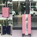 กระเป๋าเดินทางขนาด 21 นิ้ว รุ่นB1818 โครงอะลูมิเนียม อลูมิเนียม วัสดุ ABS+PC (ชมพู)