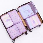 กระเป๋าจัดระเบียบกระเป๋าเดินทางชุดใหญ่ 6 ใบ (สีม่วงลายดอก)