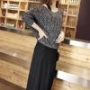 Set เดรสยาวสีดำ + เสื้อคลุมไหมพรมแขนยาว สีเทาเข้ม