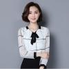 เสื้อแฟชั่นเกาหลี แขนยาว คอวีผูกโบว์ มีซับใน สีขาว