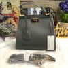 CHARLES & KEITH PUSH-LOCK HANDBAG *สีเทา