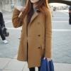 สีน้ำตาล-เสื้อโค้ทกันหนาว สไตล์เกาหลี รุ่นกระดุม 2 แถว
