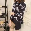 เสื้อแฟชั่น ปลายแขนกระดิ่ง สีดำลายดอกไม้