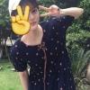 เสื้อแฟชั่น มินิเดรสแขนสั้นทรงตุ๊กตา สีน้ำเงินลายดาว