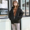 เสื้อคลุมฮู้ด แจ็คเก็ตซิป แขนยาวกันหนาว สีดำ